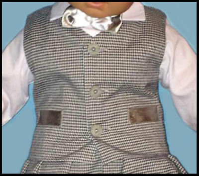 Dashing Baby Boy Christening Pageboy Formal Party Smart Suit Hat Outfit Waistcoat Grey