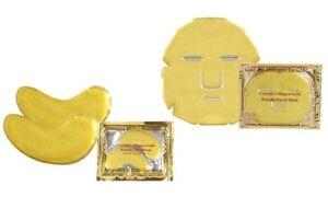 Kit Maschere per il viso, occhi e labbra al collagene d'oro e acido ialuro