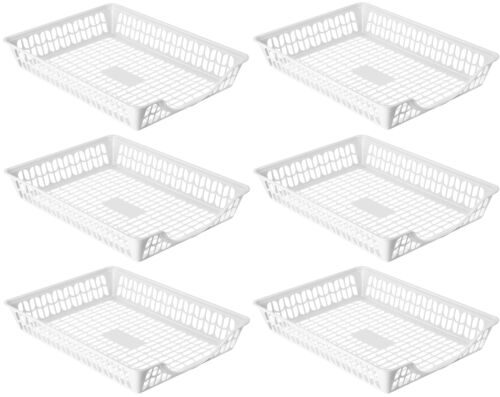 Perforated Storage Basket-6 pack Plastic Paper Organizer Tray for Desk 32-1195