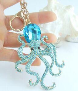 Rhinestone Crystal Unique Octopus Pin Necklace Pendant