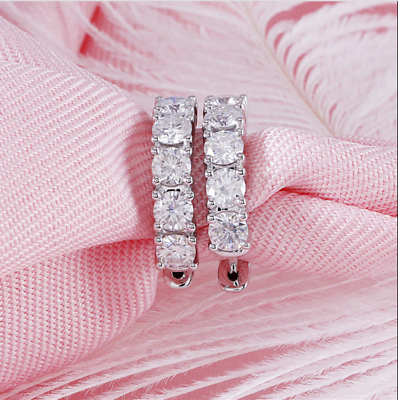 Jewelry & Watches Fine Earrings Adaptable 1.15ct Round Cut Vvs1/d Diamond Huggie Hoop Earring Solid 14k White Gold Finish