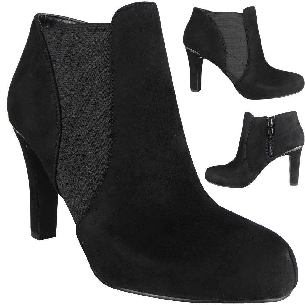 New Zip Womens Ladies Faux Suede Zip New High Heel Work Ankle Chelsea Boots Shoes Size 6458de