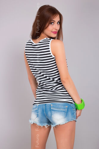 Ladies Cotton Striped Vest Top NY Print Sleeveless Casual T-Shirt Size 8-14 FB35