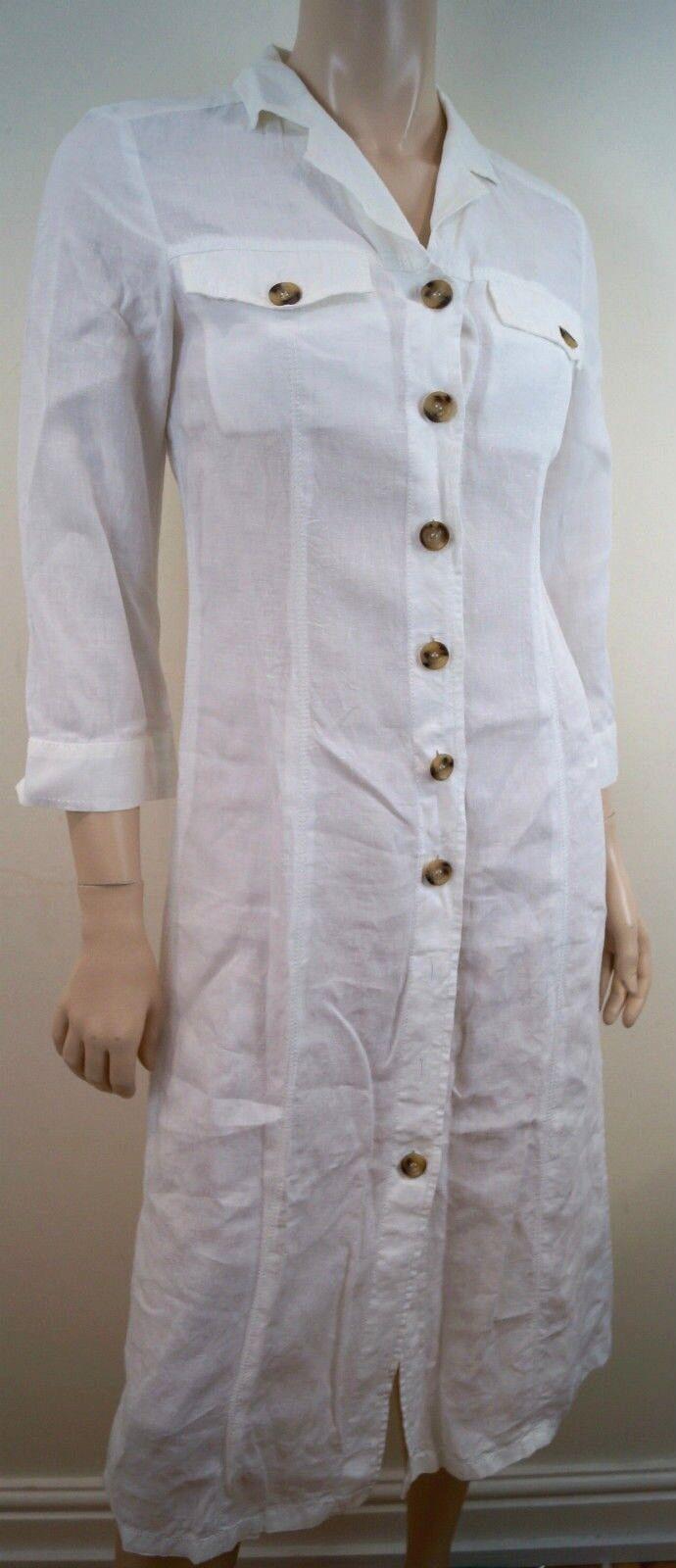 11e614a156 MAXMARA WEEKEND White 100% Linen Collared Button Front 3 4 Sleeve ...