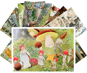 Postcards-Pack-24-cards-Small-Forest-People-by-Elsa-Beskow-Vintage-Book-CD3010
