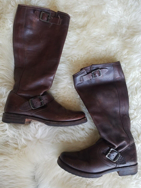 Frye Größe Veronica 6.5 Dark Braun Leder Veronica Größe Tall Buckle Stiefel Moto Boho Slouch 9560e0