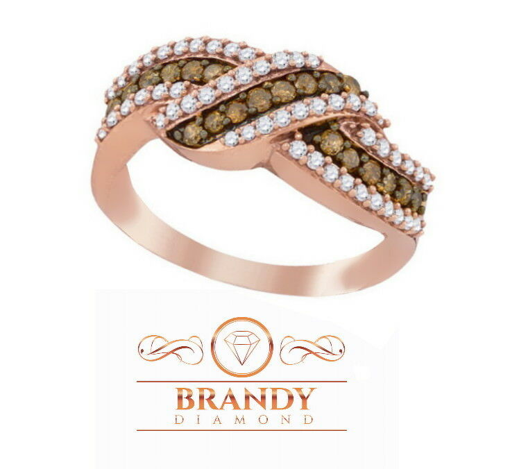Brandy Diamond® Chocolate Brown 14K pink gold Credver Wave Shaped Ring .75 Ct