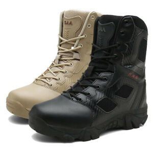 Mens Outdoor Leather Combat Boots Military Hiking Army SWAT Tactical Shoes UK10