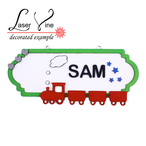 Train MDF Wood DIY Craft Shapes Room Door Wall YOUR NAME Sign Plaque