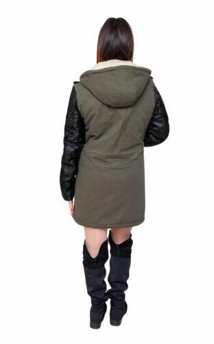 maniche coat in le nera da con donne per casual donna pelle diamante verde inverno Trench fCqRdPSq