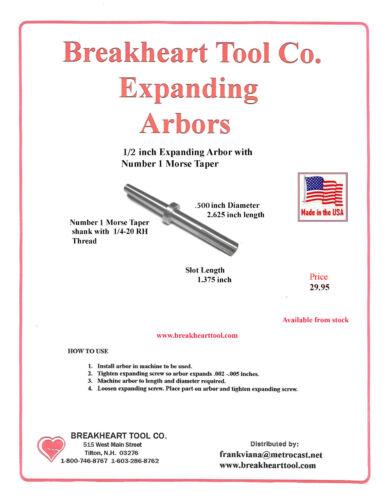 "1//2 x 2-5//8/"" Expanding  Mandrel American Arbor - Number 1 Morse Taper Shank"