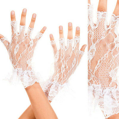 Women White/Black Lace Floral Gloves Wrist Wedding Lady Costume Opera Party Prom