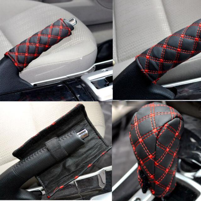2X/Set Car Hand Brake Leather Case & Gear Shift Case Interior Accessories WG