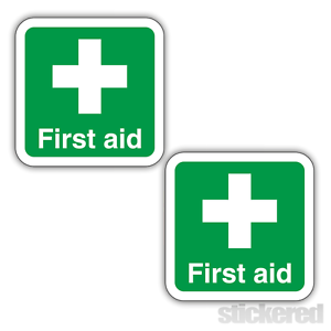 2 x FIRST AID PRINTED SELF ADHESIVE SIGNS STICKERS DECALS 100mm x 100mm