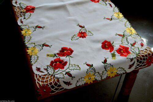 Nappe//table runner pour vous brodé 2 couleurs carré rectangulaire