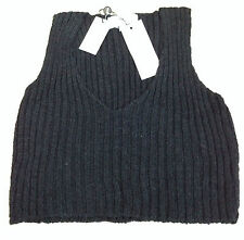 New John Rocha Cropped Slipover Top Black (Large) RRP £50 BNWT