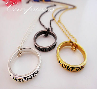 Mixed Tone BFF Best Friends Forever 3 Part Love Rings Eternity Necklaces USPS