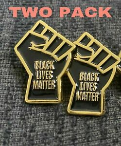 Black-Lives-Matter-Enamel-Fist-Pin-Gold-Two-pack-NEW-protest