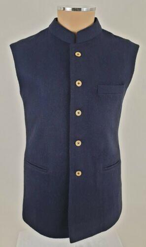 Men/'s Navy Blue Wool Blend Nehru Jacket Indian  Waistcoat Grandad Collar Gilet