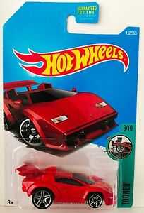hot wheels lamborghini countach - red 2017 tooned 6/10 c case lambo
