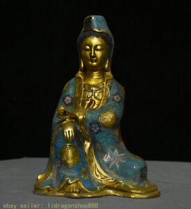 "11 ""Chine Bronze doré cloisonné 8 symbole de bon augure Kwan-Yin Guan Yin"