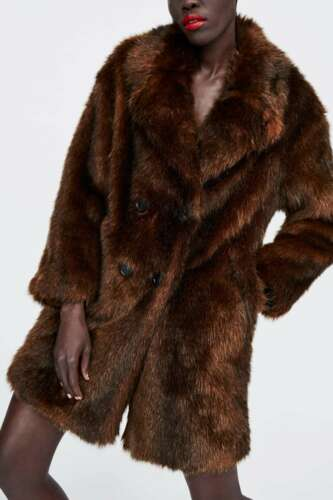 Faux S Coat Taglia 10 8 Brown Zara Doppiopetto Fur UK xYZFtU