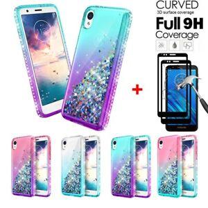 For-Motorola-Moto-E6-Case-Glitter-Liquid-Bling-Cover-Black-Full-Tempered-Glass