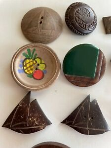 VINTAGE WOOD BUTTONS, PAINTED  FRIUT ON BUTTON, COCONUT SHIP, PLASTIC OME