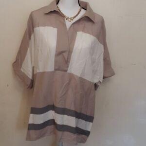 Lafayette-148-New-York-color-block-taupe-short-sleeve-blouse-sz-XL