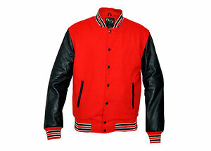 Varsity Letterman Jacket Red Wool With Black Real Leather Sleeves Ebay