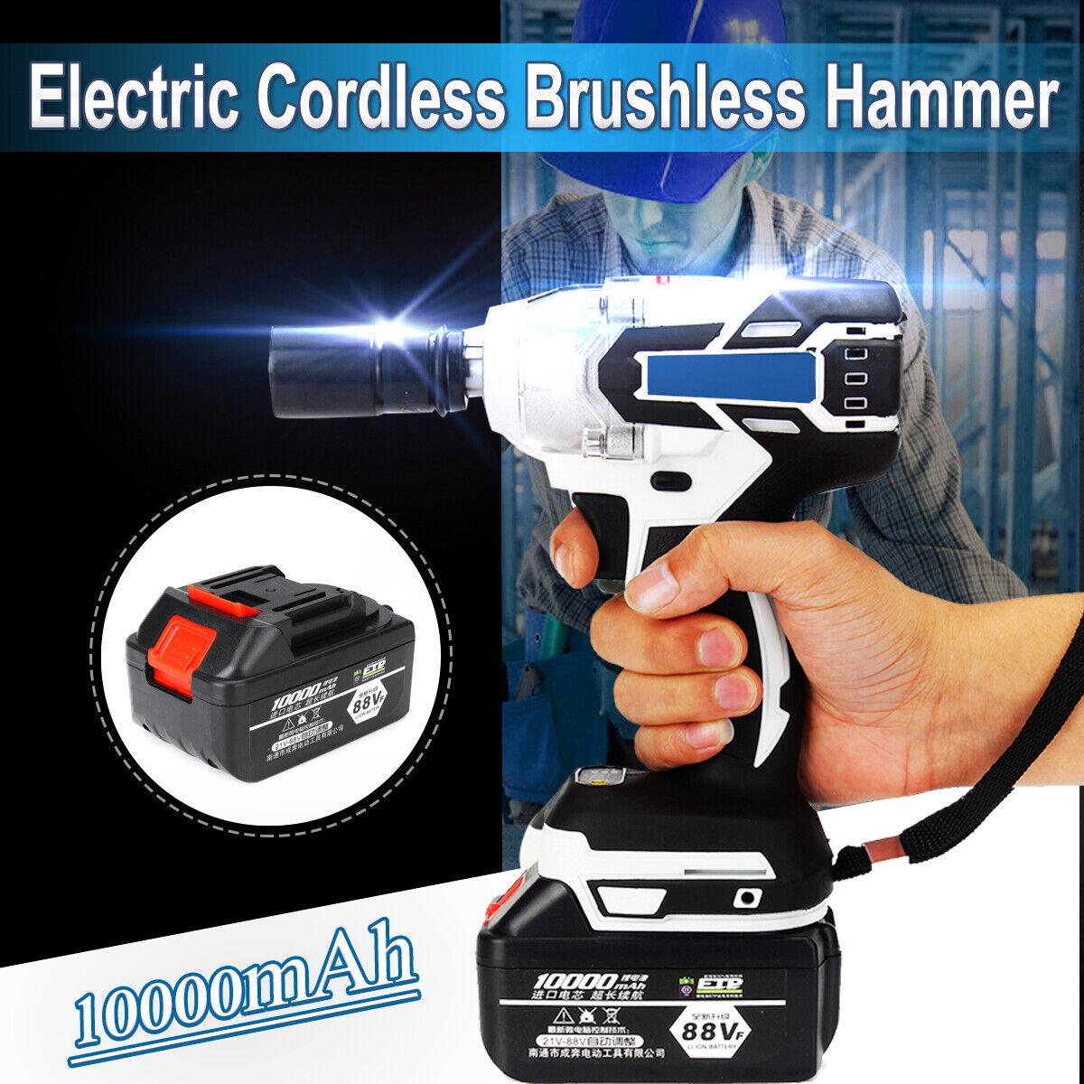 110V-220V Electric Cordless Brushless Hammer Drill Driver 10000mAh 240-520NM