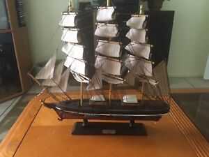 Details About Vintage Wooden Model Cutty Sark 1869 Clipper Ship Home Decor Display 18 X 19 In