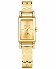 NWT Coach Women's MADIS SIGNATURE ETCHED Gold Plated Bangle Watch 14502122