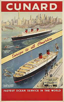 Vintage Travel Poster  CUNARD - EUROPE TO ALL AMERICA A1,A2,A3,A4 Sizes