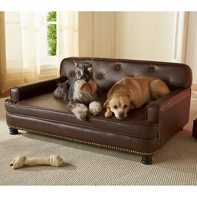 Pet Leather Sofa Bed Dog Luxury Faux Brown Enchanted Home Library Cat Easy  Clean | eBay