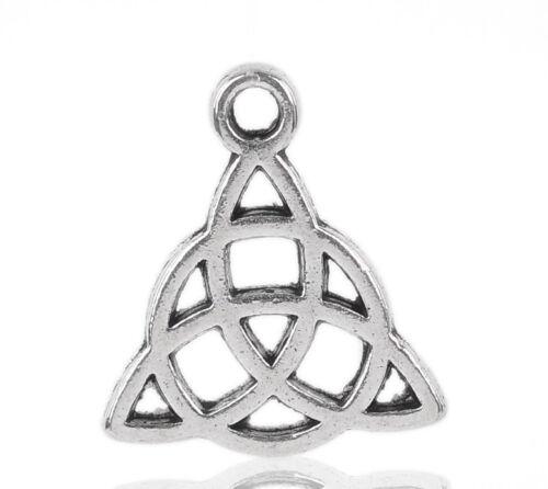 "1 of 1 - 50PCs Silver Tone Celtic Knot Charm Pendants 15x17mm(5/8""x5/8"")"