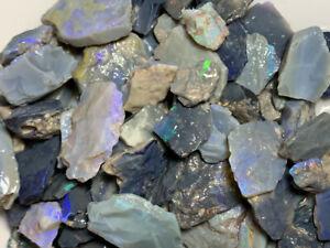 Australian-Rough-Opal-parcel-1000cts-Dark-Seam-bright-colour-bars-107-Video