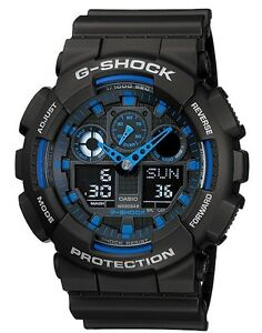 Casio G Shock *GA100-1A2 Anadigi Blue Semi Gloss Black Gshock COD PayPal