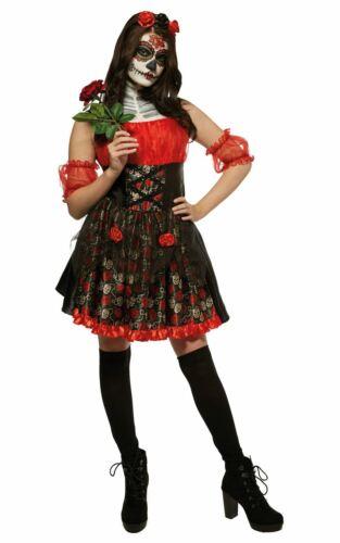 Rose rouge le jour des morts Femme Costume Robe Fantaisie