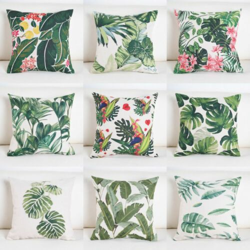 Cotton Cushion Pillow Tropical Waist Decor Linen Cover Home Case Throw Green