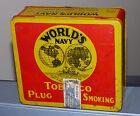 Antique Quebec, Canada 'Rock City' WORLD'S NAVY tobacco tin can FREE SHIP!