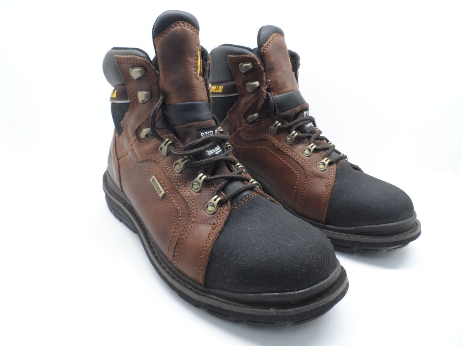 CAT Caterpillar Men's Manifold Tough Waterproof Work Boot Brown Black Size 11.5W