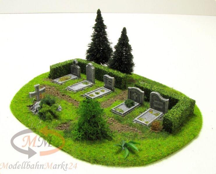 Terreno cimitero ummauert + 2 abeti adatto per traccia 0 1:43 - NUOVO