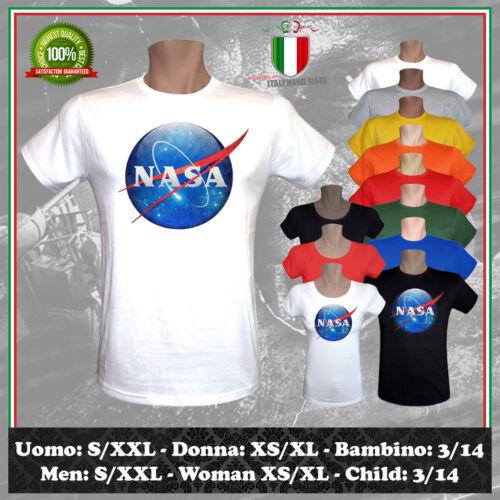 T-SHIRT NASA DISEGNO PORTRAIT VINTAGE LOGO ISPIRATO LUNA CULT UOMO DONNA BAMBINO