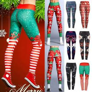 Details About Womens Printed Christmas Yoga Leggings Xmas Pants Sports Workout Gym Trousers O