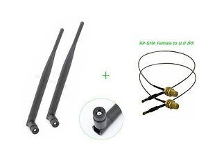 6dBi RP-SMA Dual Band WiFi Antenna U.fl Mod Kit for Netgear WNDR3400 WNDR3700