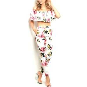 M L Off spalla Pant Sexy set pezzi Slim Fit Top Womens Pink S 2 Floral White SqYwxn0Z6