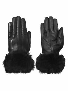 Giromy-Samoni-Womens-Warm-Winter-Leather-Driving-Gloves-with-Faux-Fur-Trim-Black