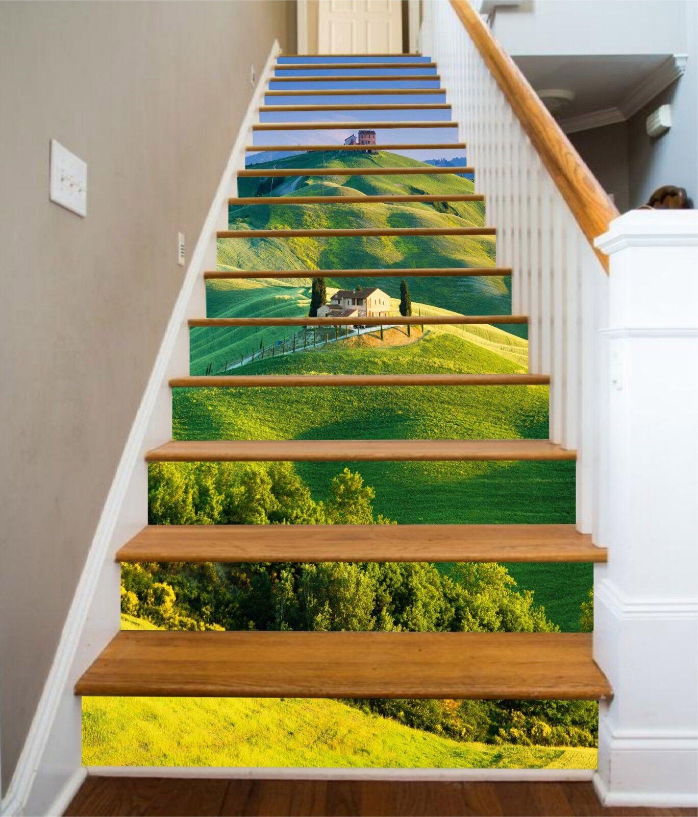 3D Grne Berge 2180 Stair Risers Dekoration Fototapete Vinyl Aufkleber Tapete DE