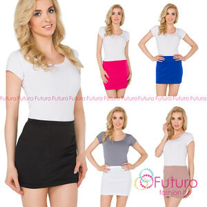 Womens-Pencil-Mini-Skirt-Stretchy-Summer-Elasticated-Bodycon-Sizes-8-22-PA11
